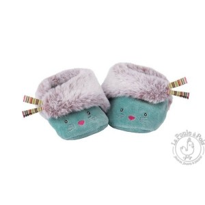 Chaussons bleus chat Les Pachats - Moulin Roty