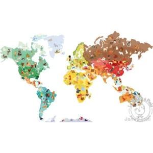 Stickers muraux carte du monde magnetique Janod