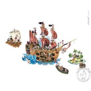 Stickers muraux bateau pirate magnetique Janod