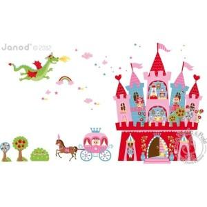 Stickers muraux princesse chateau magnetique Janod