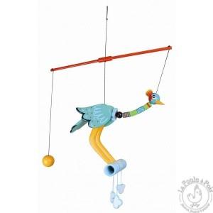 Mobile oiseau perchoir grue royale verte - Le Coin des Enfants