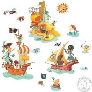 Stickers l'ile aux trésors pirates Djeco