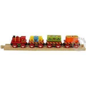 Train de déchets en bois avec rails Bigjigs