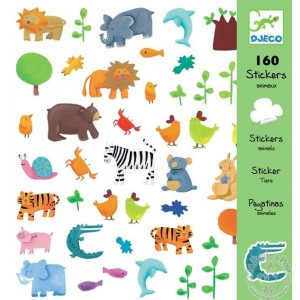 Stickers animaux lion elephant tigre escargot zebre - Djeco