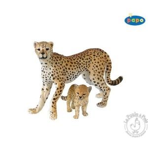 Figurine guépard et son bébé - Papo