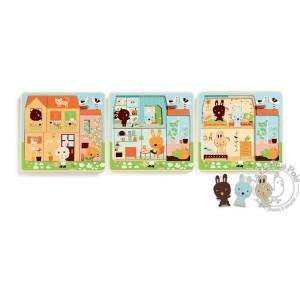 Puzzle 3 niveaux lapins Djeco