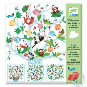 Stickers printemps arbre oiseau fleurs - Djeco