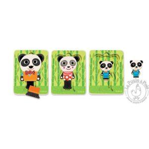 Puzzle Bois Panda 3 niveaux - Djeco