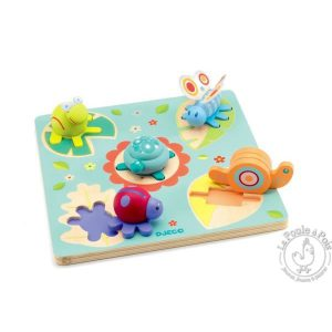 Puzzle Bois encastrable Tortue Escargot Libellule Grenouille