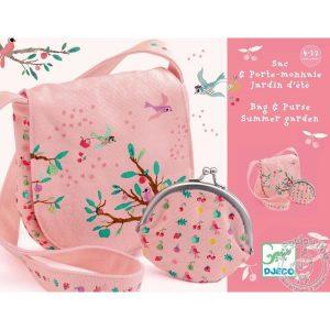 Sac et porte monnaie rose jardin d'été - Djeco
