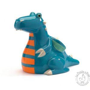 Tirelire en céramique dragon bleu féroce appétit - Djeco