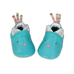 Chaussons naissance cuir chat Les Pachats - Moulin Roty