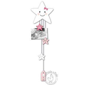 Accroche photo étoile rose pour fille