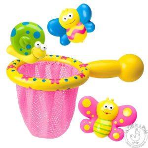Epuisette bain jouet enfant escargot papillon