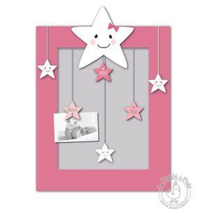Tableau pêle-mêle étoile rose pour enfant