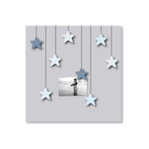 Tableau Pêle-mêle gris étoiles bleues enfant