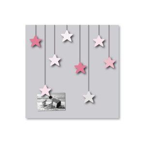 Tableau gris Pêle-mêle étoiles roses pour enfant