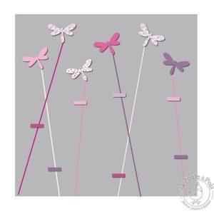 Tableau gris rose Pêle-mêle libellule fille