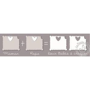 Pêle-mêle photo pour jumeaux gris
