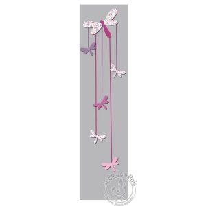 Porte photos verticale pour fille Libellule rose