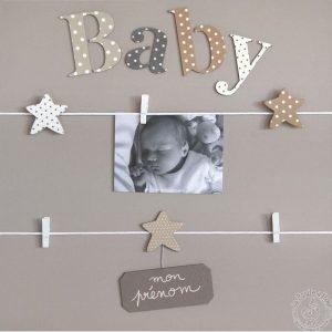 Tableau accroche photo bébé gris blanc
