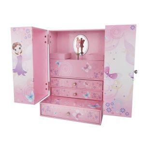 Armoire à bijoux musicale rose pour petite fille
