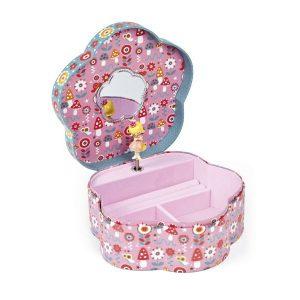 Boite à bijoux musicale fleur rose pour fille