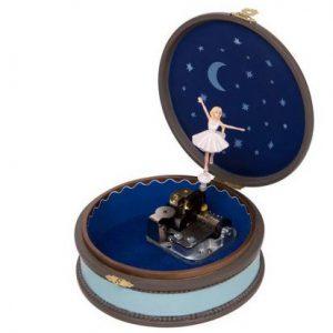 Boite à bijoux musicale ronde danseuse Lac des cygnes
