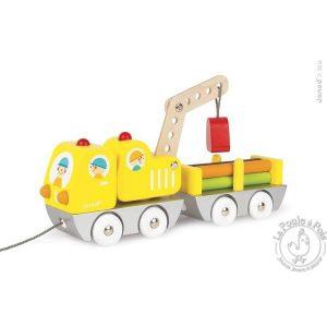 Camion à promener jouet d'éveil en bois