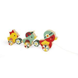 Canard à promener jouet à tirer en bois pour enfant