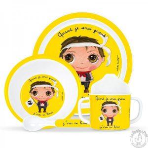 Set de vaisselle jaune pour garcon corse