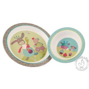 Service vaisselle plastique pour repas enfant