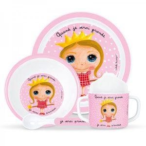 Cadeau naissance coffret vaisselle rose fille
