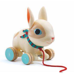 Lapin à promener jouet à tirer en plastique