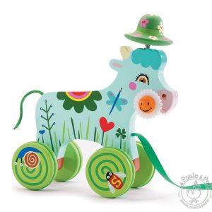 Vache à promener jouet à tirer en bois