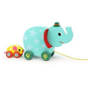 Eléphant à promener jouet à tirer en bois