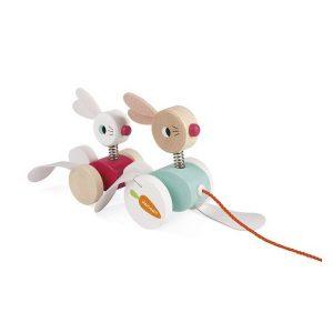 Lapin à promener jouet d'éveil en bois enfant