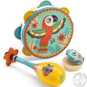 Set musical tambourin, maracas et castagnette enfant