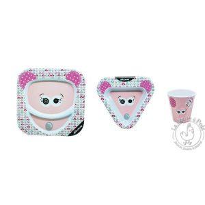 Coffret vaisselle rose pour fille en mélamine