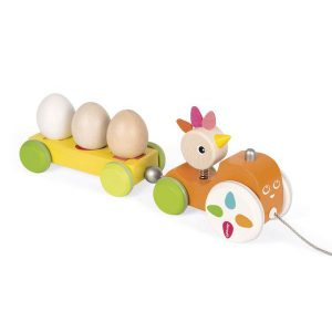 Poule à promener jouet à tirer train oeuf
