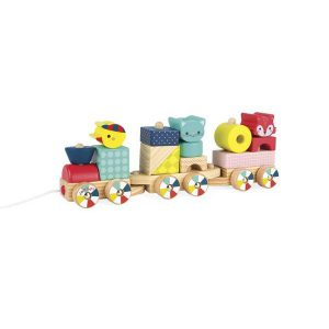 Train à tirer jouet d'éveil en bois pour enfant
